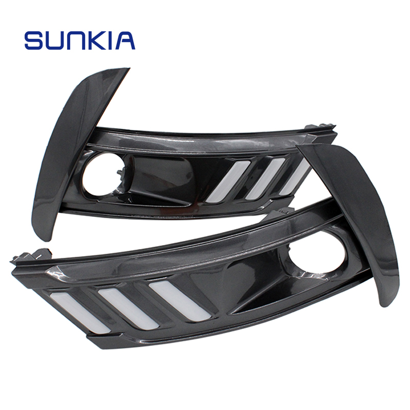 SUNKIA 2Pcs/Set Car LED DRL Waterproof Daylight Daytime Running Light Car Styling DRL Driving Light 12V for Toyota Corolla 2016 1pair led car daytime running light daylight drl fog driving lamp 12v blue white waterproof car styling car accessories