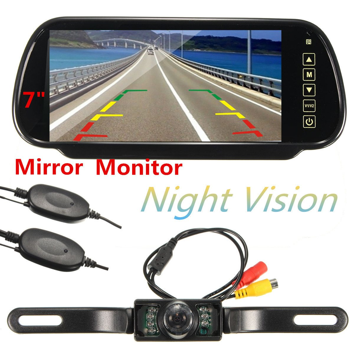 HD 7 Inch TFT LCD Display 1024*600 Car Mirror Monitor MP5 Rear View Camera Parking System