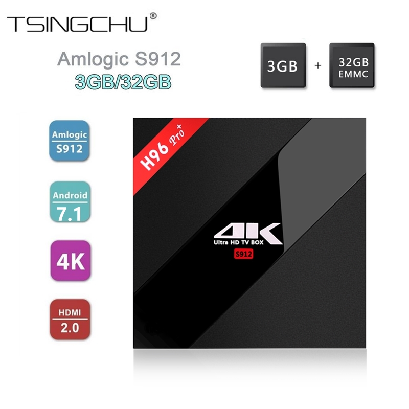 Genuine 3GB 32GB Android 7 1 H96 Pro PLUS TV BOX Amlogic S912 64bit Octa