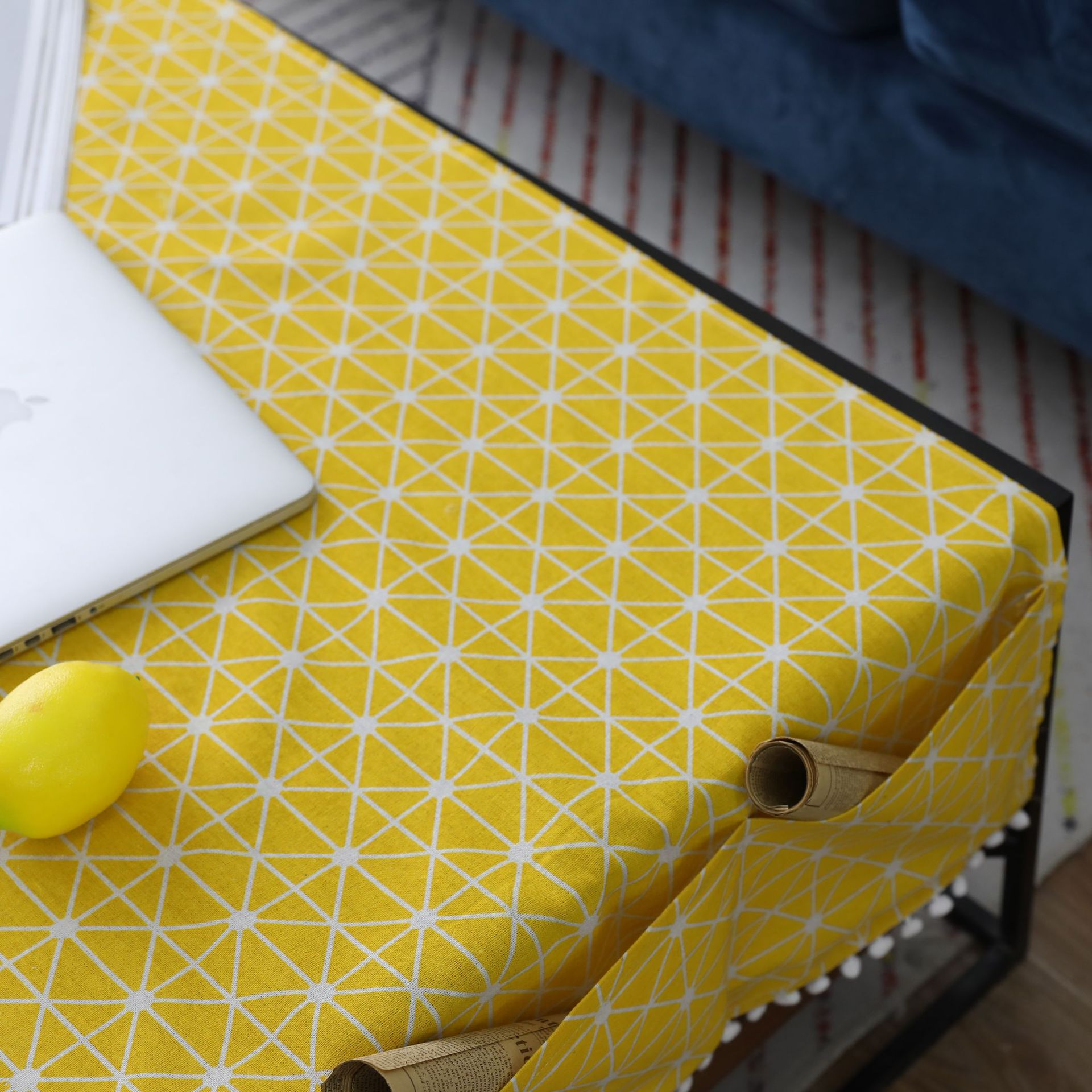 Yellow Board Grid Table Cloth with Three Pocket Ear of Wheat Nappe TV Bench Mantel Rectangular Tea Table Cover Toalha De Mesa