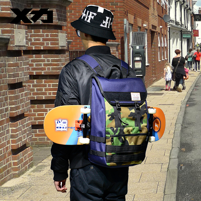 MACKAR 27X16X47cm Skateboard Bags 1000D Nylon Mini Skateboard Knapsacks Men Street Dark Blue/Camouflage Outdoor Sports Backpack