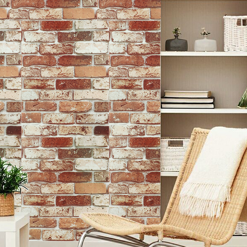 3D Red Brick Wallpaper For Living Room Bedroom Kitchen TV Background Art Wall PVC Removable Self Adhesive Wall Papers Home Decor