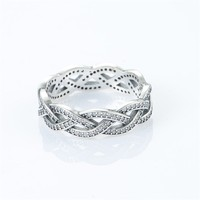 Wedding Ring 925 Sterling Silver Braided Pattern Clear CZ Rings for Women Pandulaso Jewelry Free Shipping