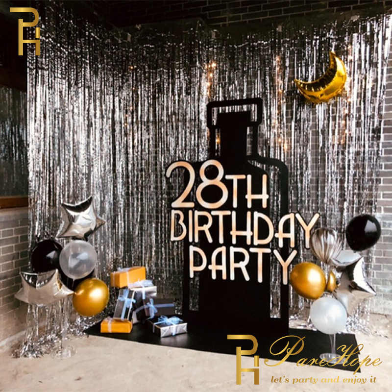 Adult Kids Birthday Party Decoration Backdrop Curtain Gold Happy Birthday Balloon Foil Rain Curtain Party Baby Shower Decoration