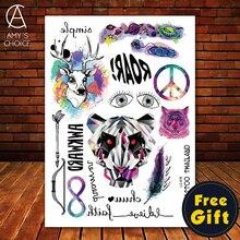 Big Black tatuagem Taty Body Art Temporary Tattoo Stickers Colored Deer Bear Magic Tiger Pande Head Glitter Tatoo Sticker
