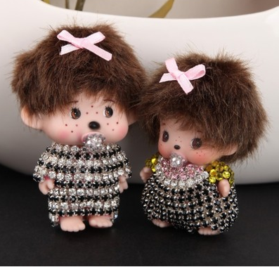 Couple Monchichi Key Chain Sleutelhanger Strass Couples Keychain Keyring Lovers Key Pandent Women Bag Charm Porte Clef M135