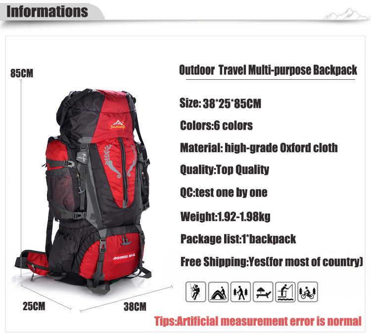 85L Large Outdoor Hiking and Camping Rucksack Backpack - bags-packs, hiking-backpacks, google-feed