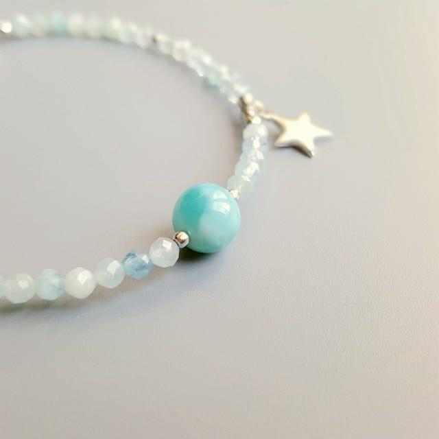Bracelet Femme En Véritable Perle Larimar
