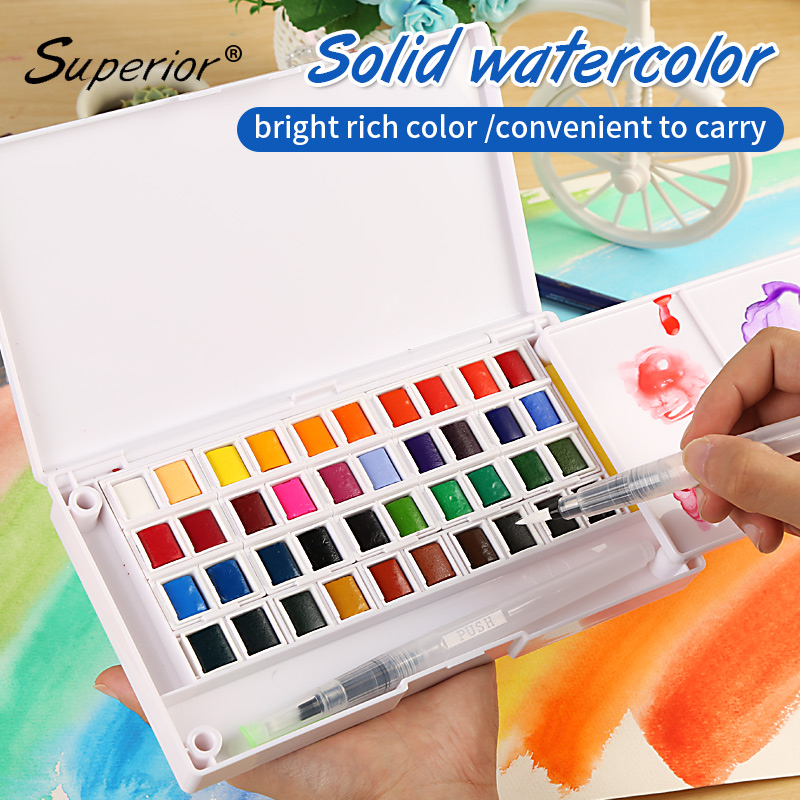 superior watercolor paint with paintbrush high quality portable solid watercolor paints pigment set