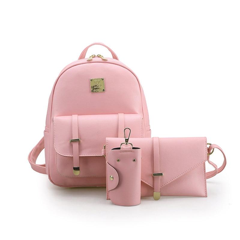 3Pcs/Set Zipper Mini Backpack Women Small Backpack Female Leather School Bags Shoulder Bag Day Clutch Lady Purse Girl Key Pouch