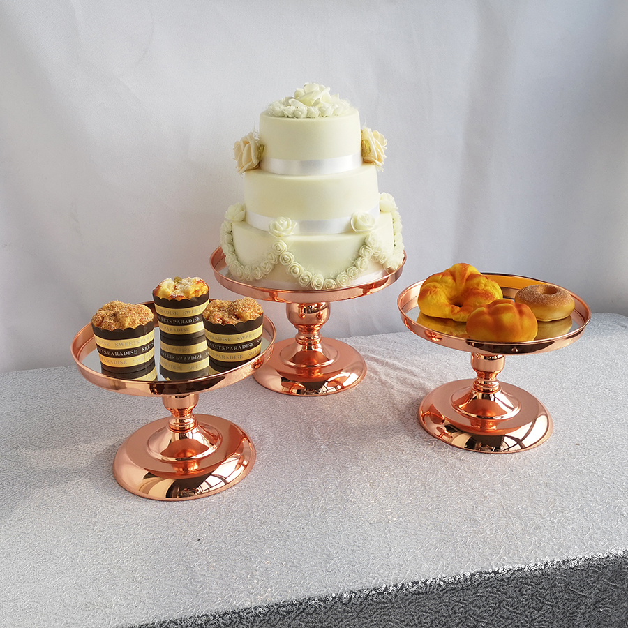 1pcs  7pcs Rose Gold Cake Stand  Modern Round mirror surface Wedding Birthday Party Dessert Cupcake Display Pedestal|Stands| |  - title=