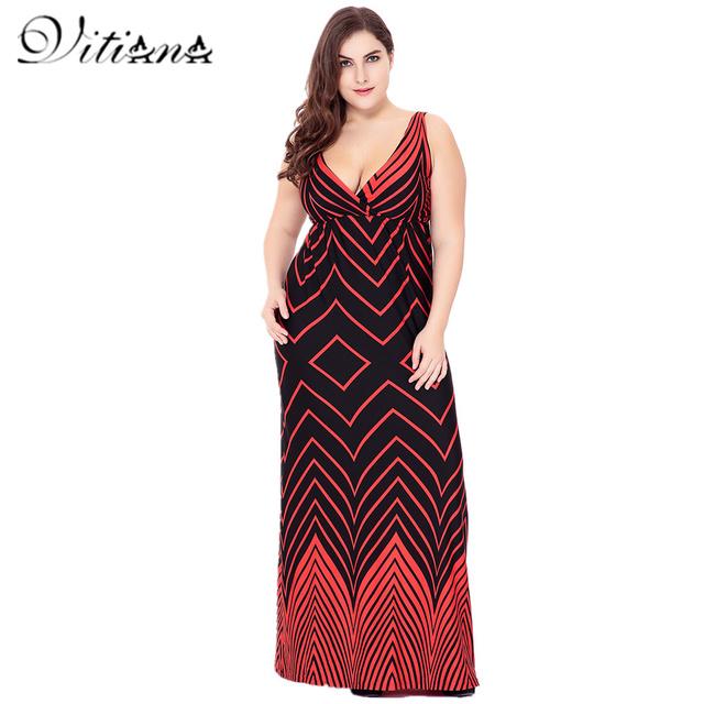 VITIANA 2017 Women Summer Sexy Casual  Clothing Femme Boho Beach Red Print V Neck Maxi Long Party Dress Plus Size 5XL 6XL