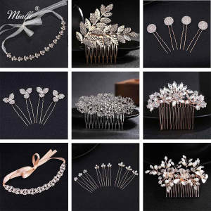 Miallo Headpieces Clips Jewelry Hair-Accessories Wedding-Hair-Pins Rhinestone Crystal