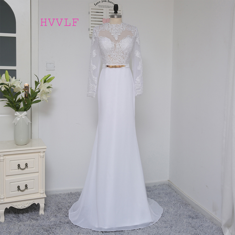 HVVLF White 2019 Prom Dresses Mermaid Long Sleeves Open Back Long Lace Sash Sexy Prom Gown Evening Dresses Evening Gown