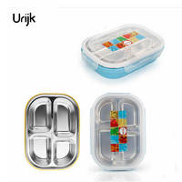 Double Layers Insulation Bento Box Lunch For Kids Students Stainless Steel 4 Grids Food Container Storage
