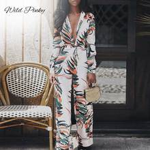 WildPinky Women Floral Print Long Sleeve Casual Boho Spring Summer Romper Loose Sexy V-Neck Elegant Beach Jumpsuits Overalls v neck sexy print stripe bell sleeve loose jumpsuits