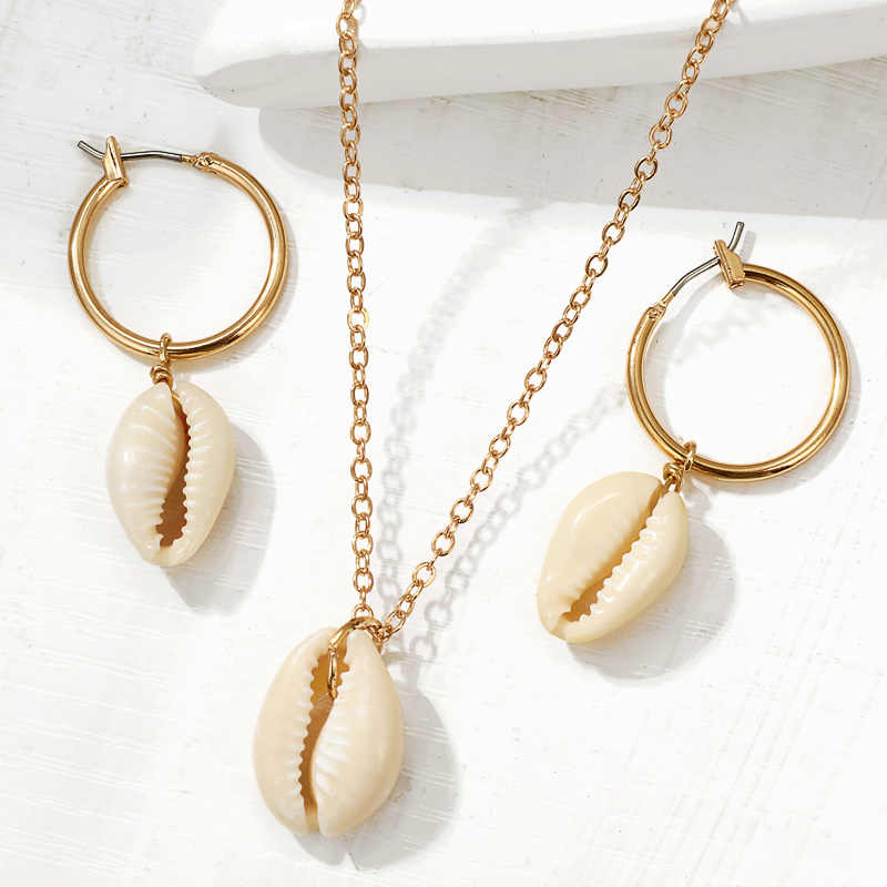 ZOSHI Bohemian Sea Shell Conch Metal Necklace Earrings Set For Women Dangle Earring 2019 Fashion Female BOHO Shell Jewelry Set