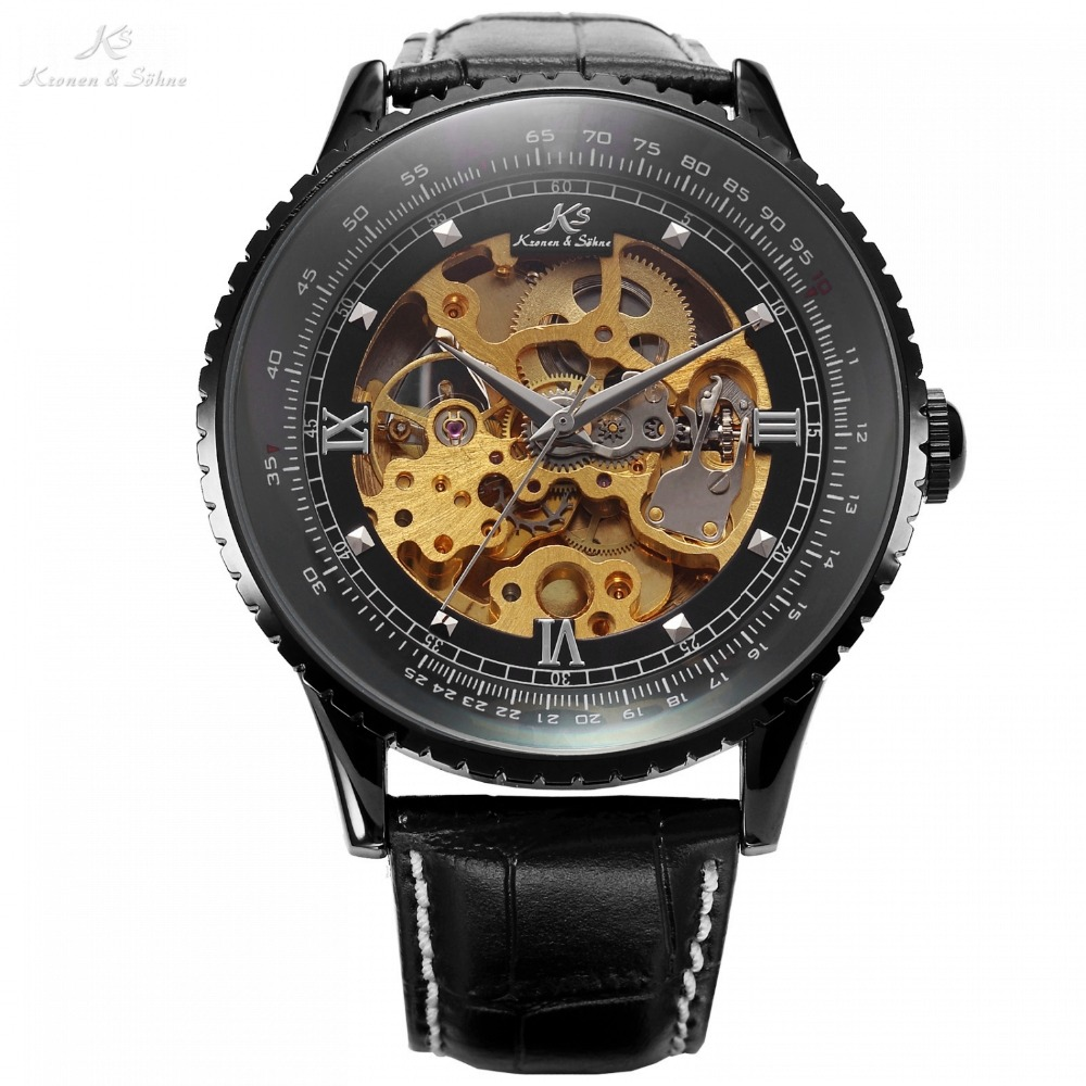 цена на Classic Luxury KS Royal Black Big Case Automatic Mechanical Skeleton Leather Wrap Relogio Self Wind Men Mechanical Watch / KS114