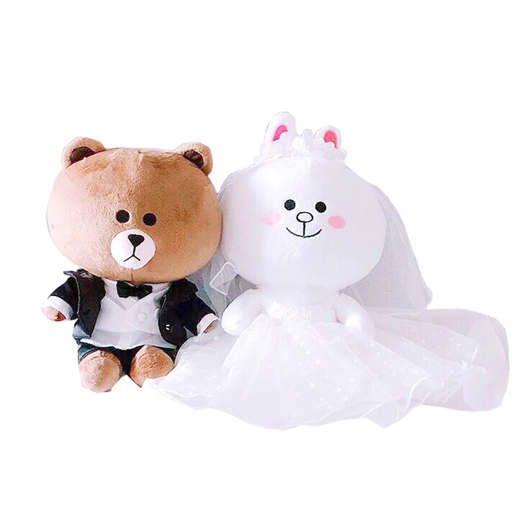 2pcs Pair Couple Brown Bear Plush Toys Bunny Cony Dolls Valentine Girlfriend Gift Christmas Wedding Present