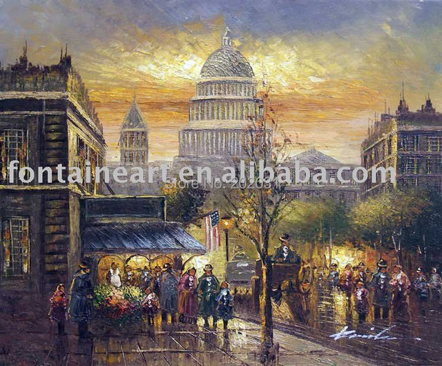 100% Handmade impressionist Old Washington DC Sunset 1900's Streetscape Oil Painting on canvas,freeshipping