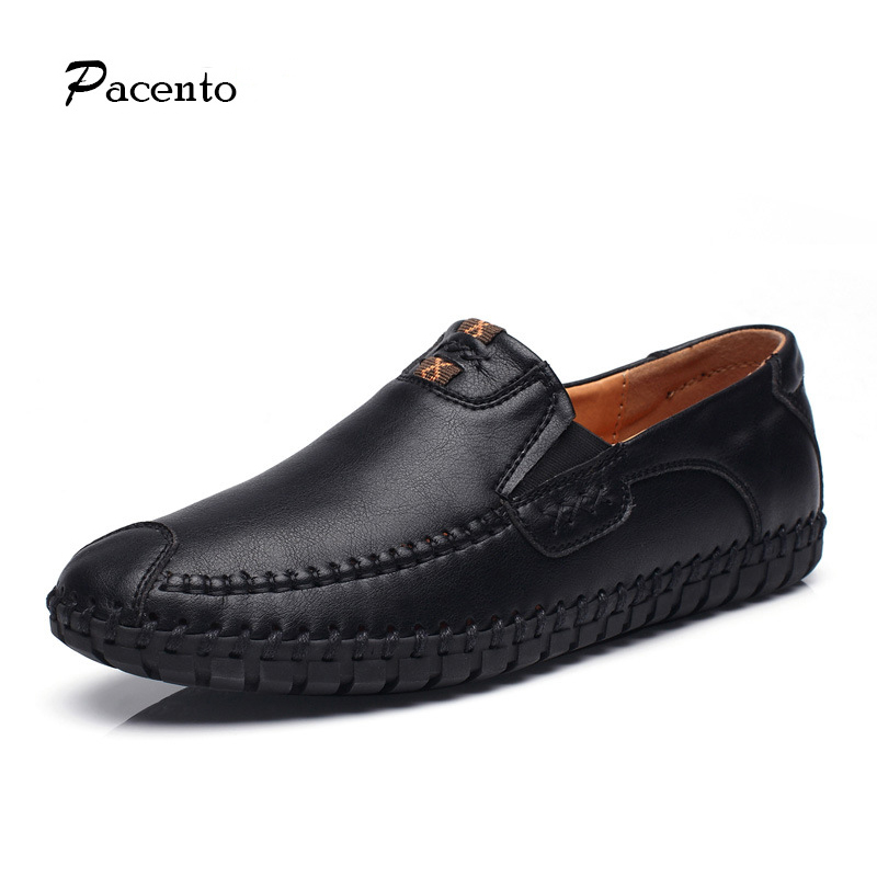 PACENTO 2017 Luxury Brand Shoes Men Genuine Leather Mens Shoes Comfortable Moccasins Mens Loafers Flats Shoe Sapato Masculino new style comfortable casual shoes men genuine leather shoes non slip flats handmade oxfords soft loafers luxury brand moccasins