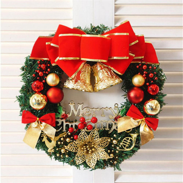 2018 new christmas wreath 1pc 30cm christmas large wreath door wall ornament garland decoration red bowknot - Large Christmas Wreath