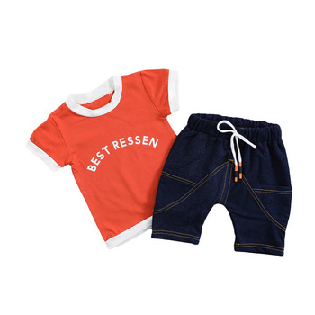 Summer Baby Girls Boys Clothing Toddler Infant Clothes Suits Cotton Letter T Shirt Denim Shorts 2Pcs/sets Kids Children Costume new 2017 spring boys letter patch denim clothing sets 3pcs kids clothes sets baby boys denim suit kids jeans