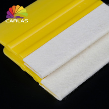 Free Shipping Vinyl Film Wrapping Tools Yellow Car Scraper Squeegee with Felt for Edge Wrap