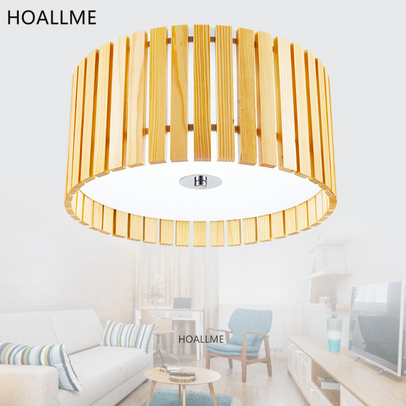 Modern Wooden Round Ceiling Lights Lamp Fixture For Home Kitchen Bedroom Living Room Luminarias Glass Hanging