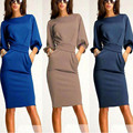 Сексуальные женщины с длинным рукавом стретч Bodycon Clubwear ну вечеринку пр офис мини платье