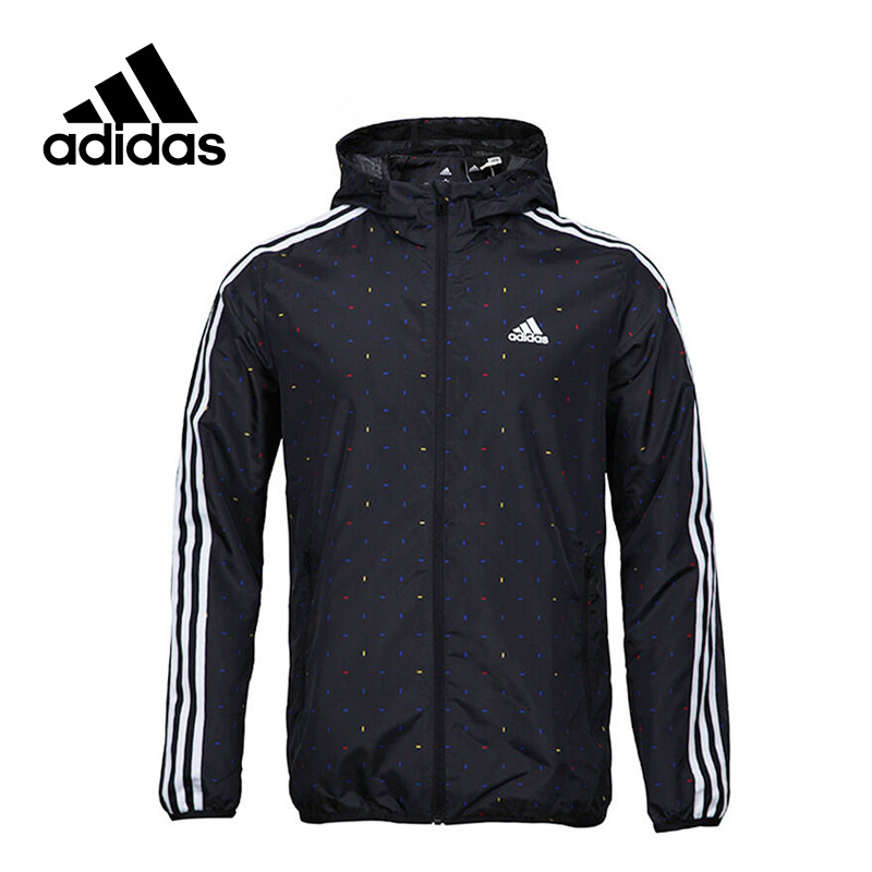 New Arrival Official Adidas Men's Windproof Jacket Hooded Leisure Sportswear цена