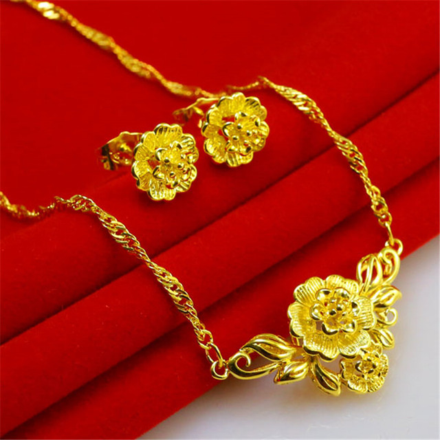 Free Shipping Gorgeous 24k Jewelry Set Quality Handmade In Hongkong Gold Necklace Earrings