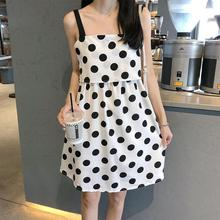 купить 2019 New Yfashion Women Fashion Summer Loose Halter Neck Polka Dot Casual Dress по цене 435.08 рублей