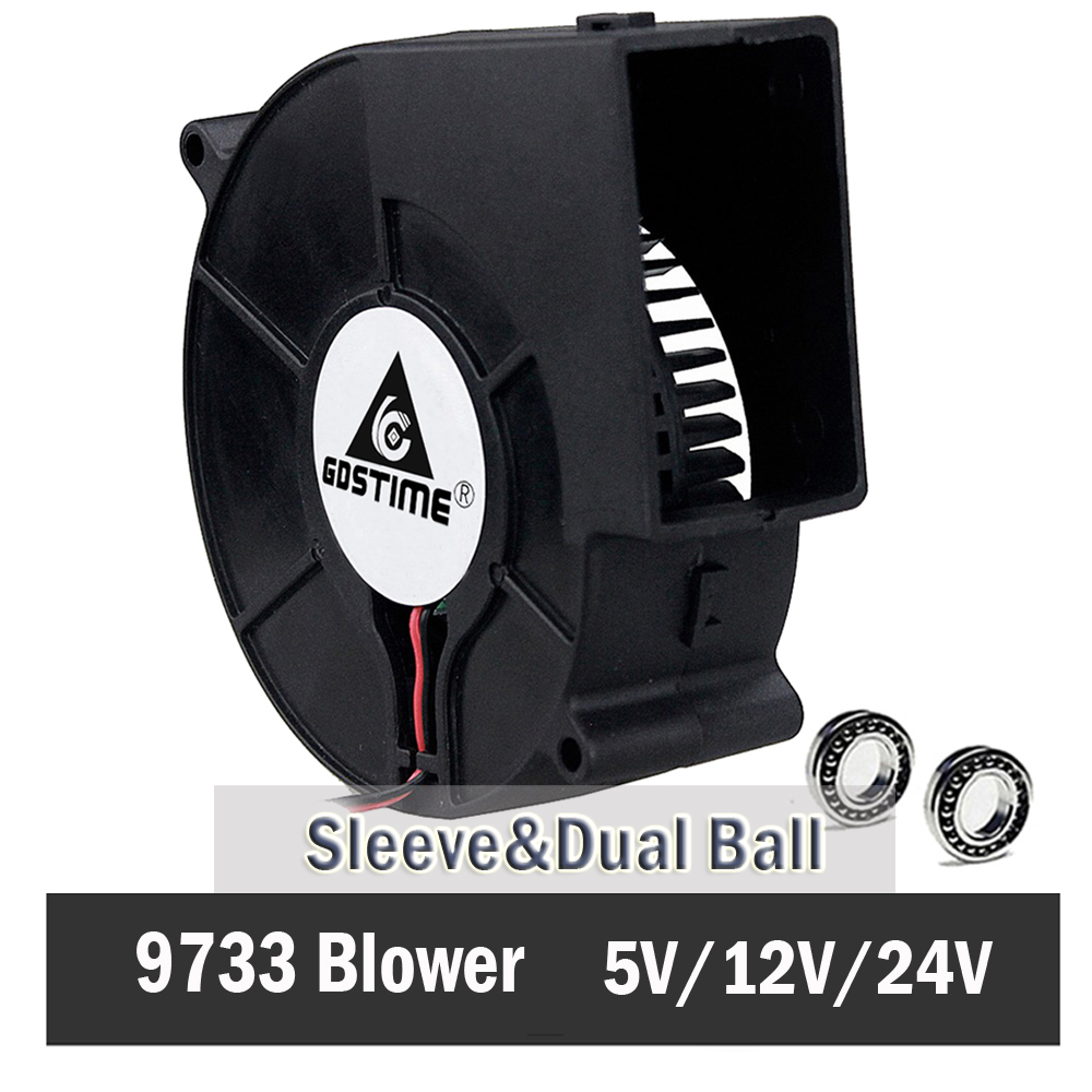 Gdstime DC 9733 12V 24V Blower Fan  97mm 97 x 33mm BBQ Blower Big Air Blower Flow Centrifugal Fan 3600RPM Sleeve/Ball Bearing
