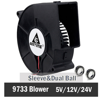 цена на Gdstime DC 9733 12V 24V Blower Fan  97mm 97 x 33mm BBQ Blower Big Air Blower Flow Centrifugal Fan 3600RPM Sleeve/Ball Bearing