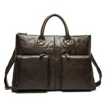 Soft Surface Genuine Leather Men Bags Retro Comfortable Handbags Three-dimensional Design Cowhide Briefcases