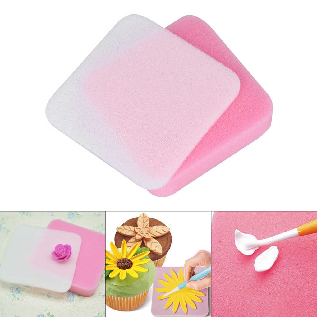 2pcs/set Drying Fondant Flower Cake Tools Foam Chocolate Sugar Mold Mat Gum Paste Shaping Sponge Pad