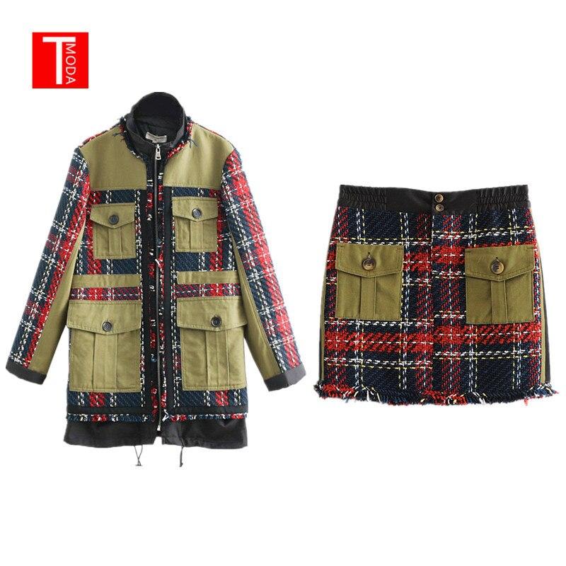 Frauen Tweed Patch Design Plaid Jacke Mantel Kordelzug Taschen Mäntel Oberbekleidung Plaid Tweed Patchwork Mini Taschen Rock