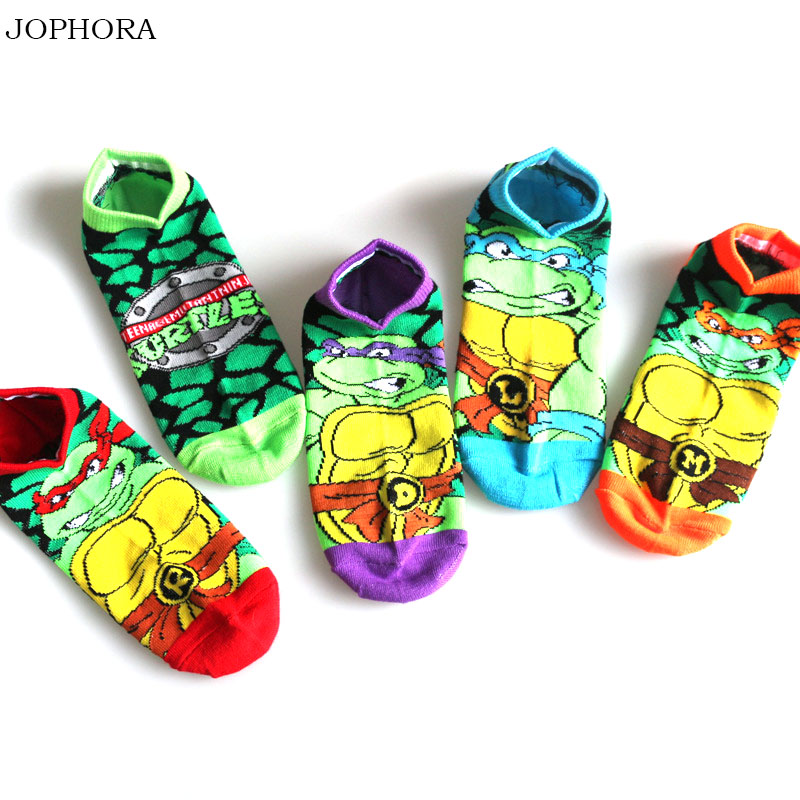 New Cartoon Ninja Turtle Series Men And Women With The Same Paragraph Camouflage Invisible Boat Socks