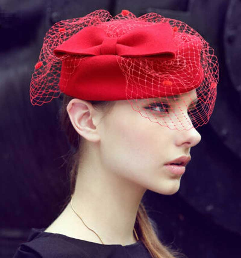 Wholesale 6pcs Black Bowknot Wool Pillbox Hat with Veil for Women Designer  Occasion Party Dress Hats Ladies Pill Box Fascinator-in Berets from Apparel  ... 4583e5933a0