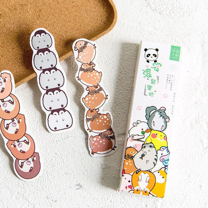 30pcs/Pack Fat Piggy Sheep Owl Flamingo Panda Hamster Crocodile Dinosaur Card Bookmark School Office Supply Student Stationery