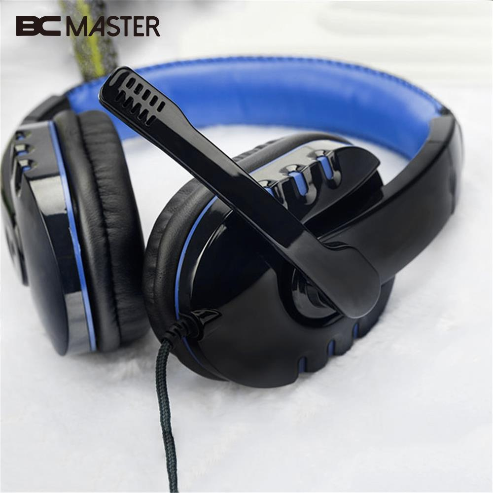 BCMaster USB 3.5mm Headset Over-Ear Stereo Surround Gaming Headband Headphone with MIC Microphone PC Gamer HiFi Earphone