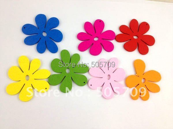 60PCS Mixed colours wooden Flower Charms 56mm #20763