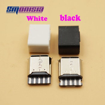 Smonisia 1000pcs Micro USB 2.0 B Type Female Connector 5-Pin Socket Solder Type Assembly Adapter Connector With plastic shell