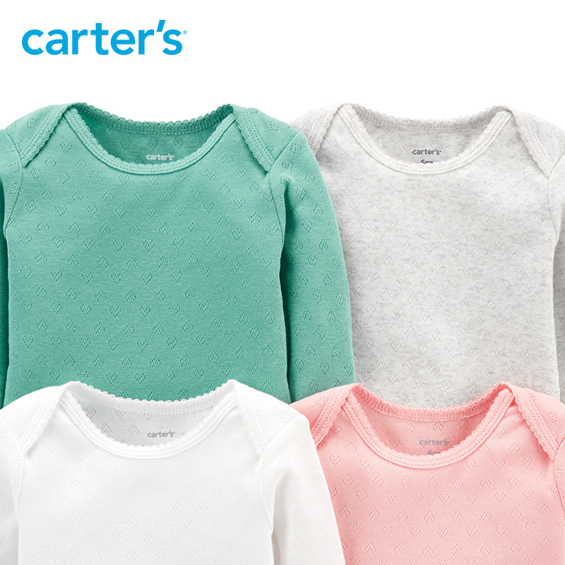11b4f1bd6 Carters 4 Pack Hearts Original Bodysuits Soft cotton solid long ...