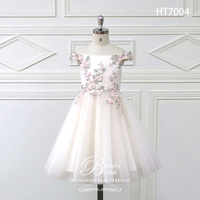 2018 Romantic Tulle Flower Girl Dress Full Sleeve for Weddings Appliques Girl Party Communion Dress Pageant Gown HT7004