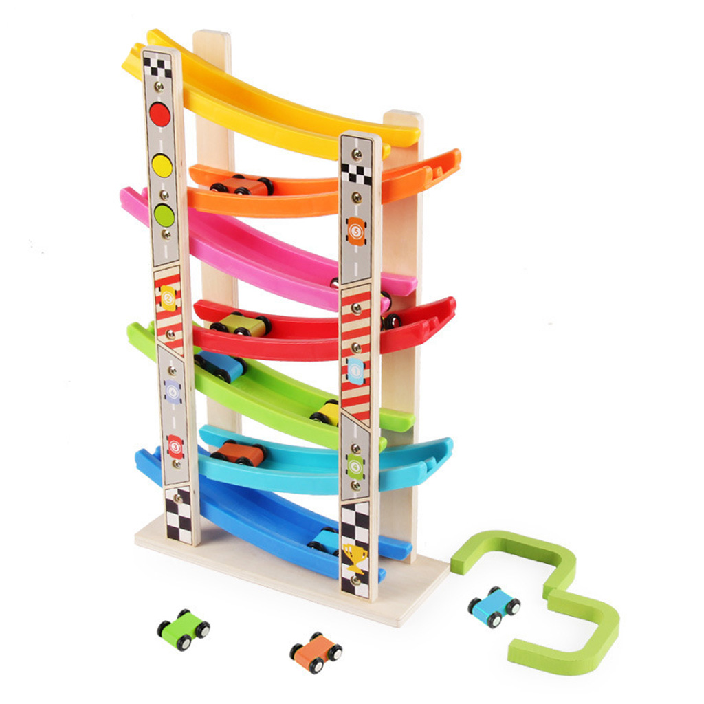 Wooden 7-Layer Ramp Race Track Car Ramp Racer With 8 Mini Inertia Cars Sliding Toy Toddlers Kids Developmental Vehicel&Train Toy
