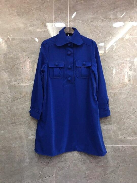Symétrique De Du Printemps Début Nouveau Manches Chemise Solide Longues Bleu 2019 Revers Poche jaune Femmes Couleur Décoration Au Dress1127 À Y1qRx4BWwz