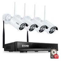 ZOSI 4CH 무선 CCTV 시스템 960 마력 HD NVR 키트 1 테라바이트 야외 IR 밤 IP 카메라