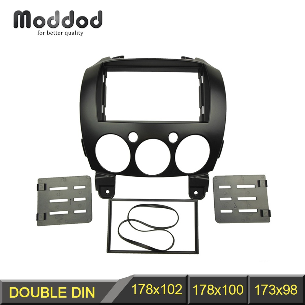 цена на 2 Din Stereo Panel for Mazda 2 Demio 2007+ Radio Fascia Refitting Dash Mounting Installation DVD Trim Kit Face Frame